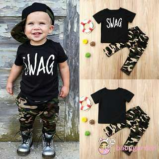 [PO] Boys 'SWAG' Camo Pants Set