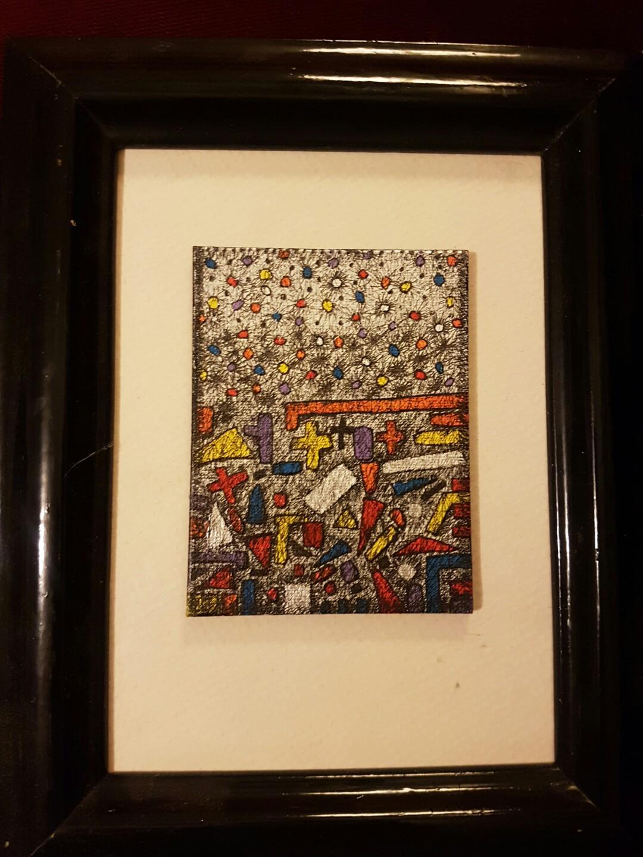 Artwork painting framed original ink canvas geometric