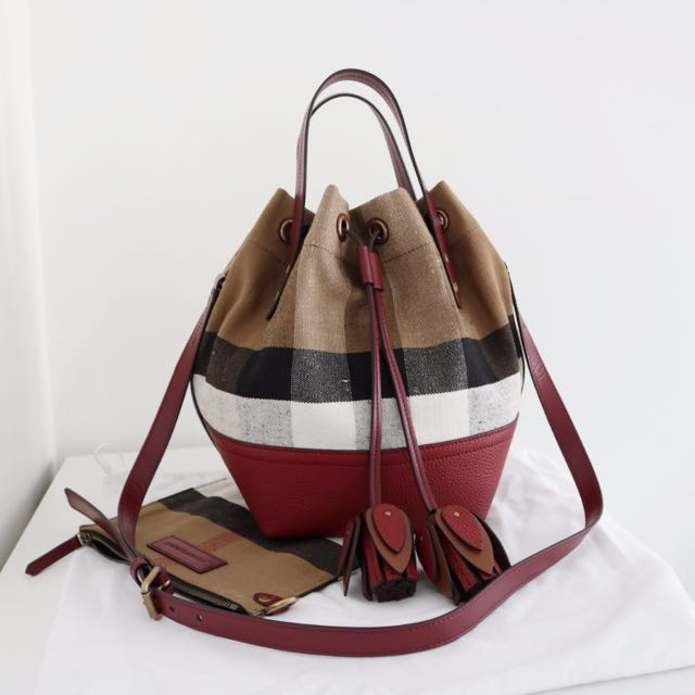 f12254cd6641 SALE!!! Authentic Burberry Small Canvas Check and Leather Bucket Bag ...
