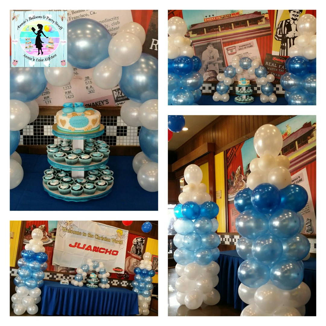 Baptismal Party Package 1 Layer Fondant Cake 40 Cupcakes Balloon