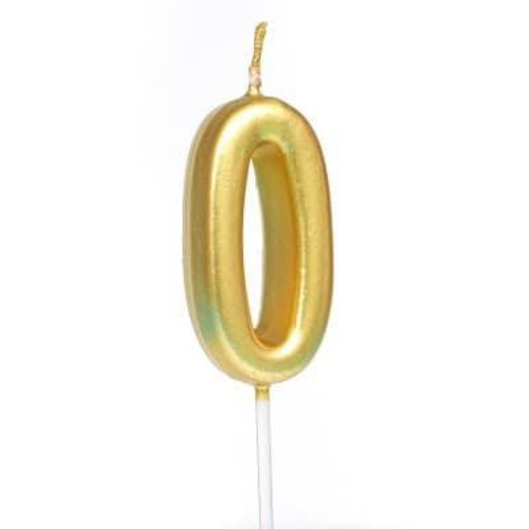 Birthday Candle Gold Color Numbers 0