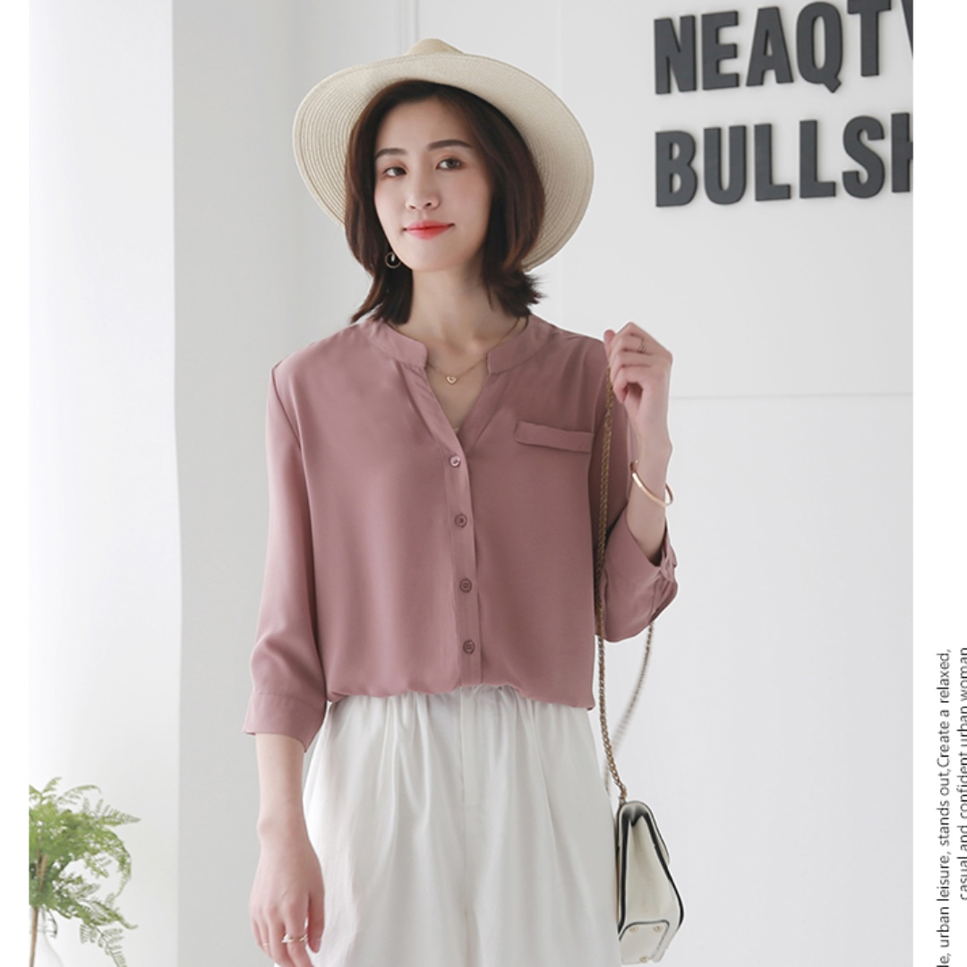 a9a5bcc514bf14 Blush Pink Blouse with 3/4 Sleeves, Women's Fashion, Clothes, Tops on  Carousell