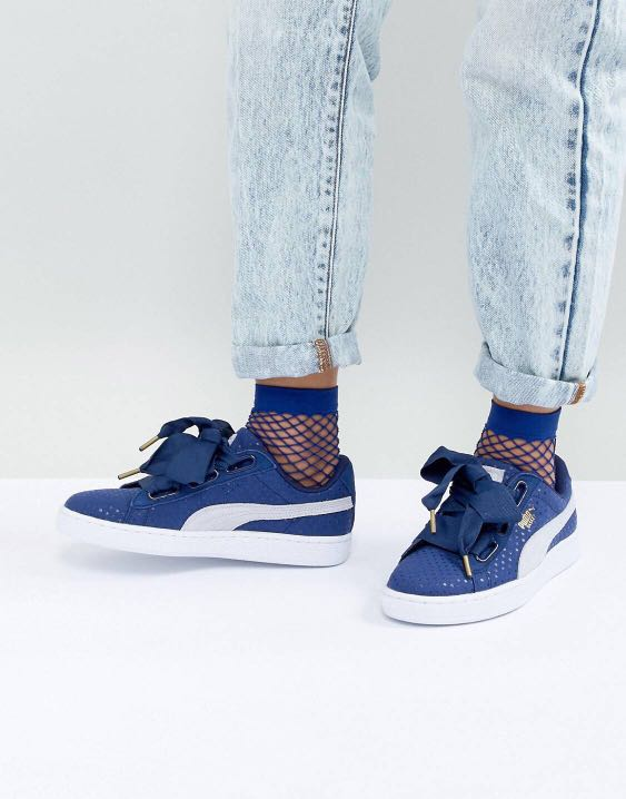 a0f8460b9124 BNIB PUMA Basket Heart Trainers in Denim Blue UK 4