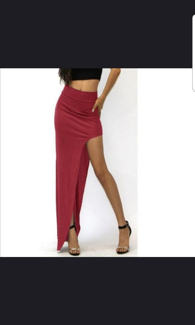 Burgandy red split maxi skirt