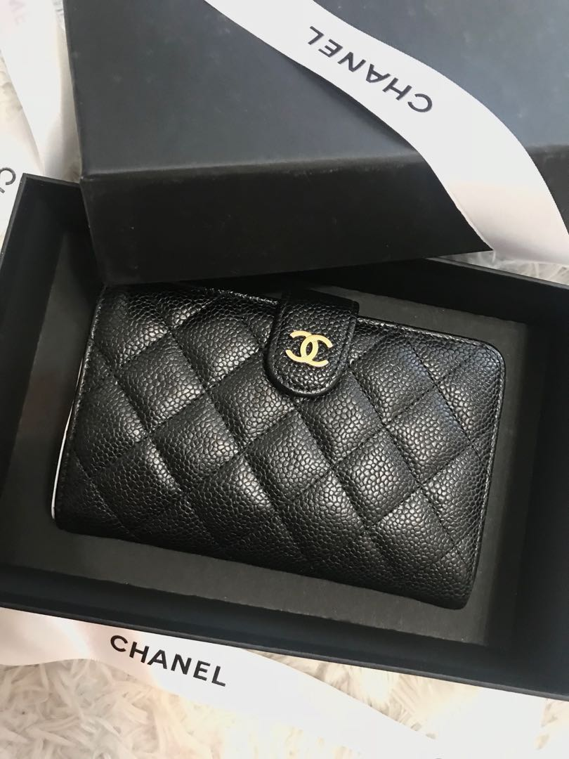 a59eec2878a1cb Classic Chanel Black Caviar Skin Quilted Short Wallet, Luxury, Bags &  Wallets on Carousell