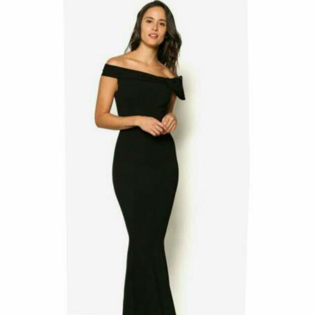 cdb4be41d20 Goddiva Bardot Fishtail Maxi Dress