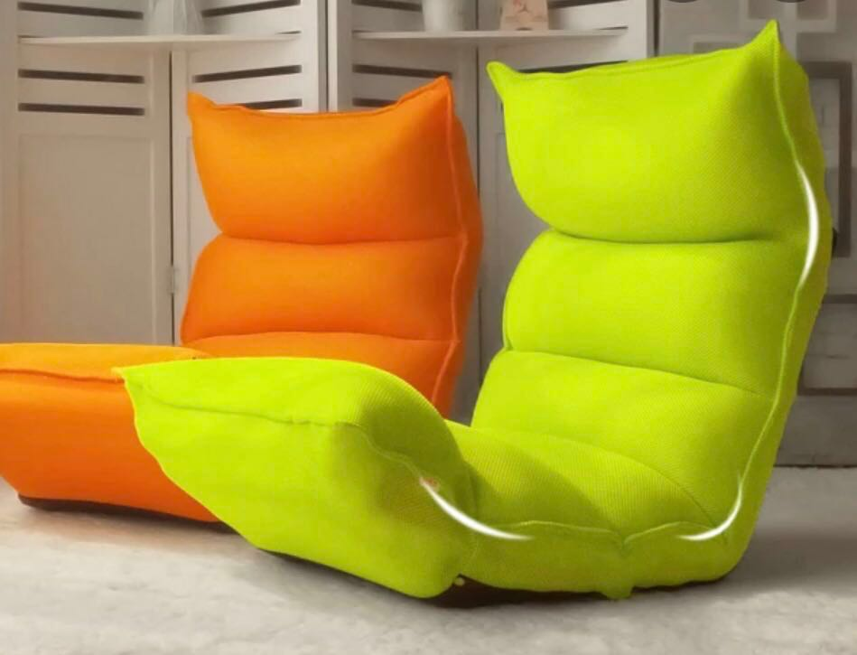 Green Lazy Sofa No Leg With Extra Orange Cover Furniture