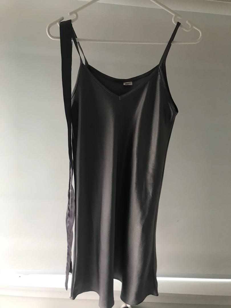 Grey/ purple silky dress