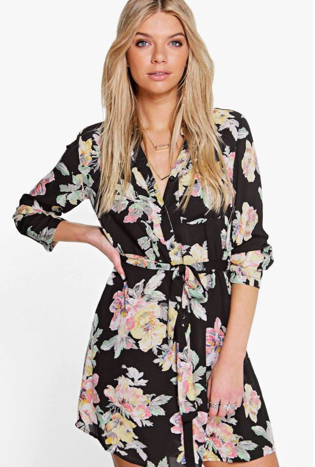 c906827d6c92 H M chiffon floral knee-length buttoned dress (with belt) -REPRICED ...