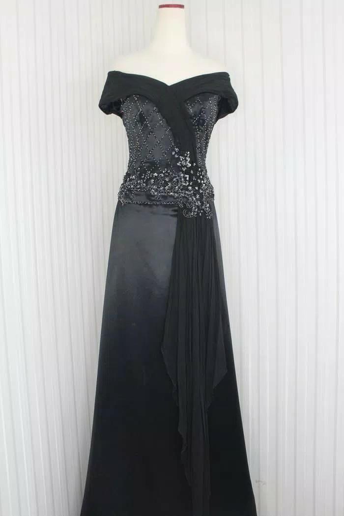 Long Dress Gaun Pesta Warna Hitam Model Sabrina Kode 7015 Women S