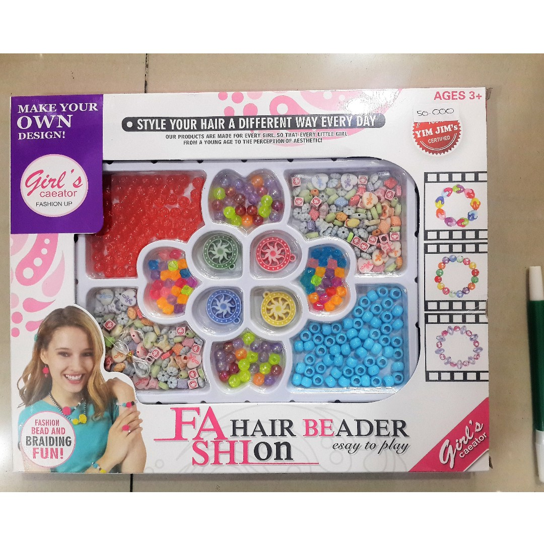 Mainan kreativitas girls creator fashion bead and braiding fun make your own design toys collectibles toys on carousell