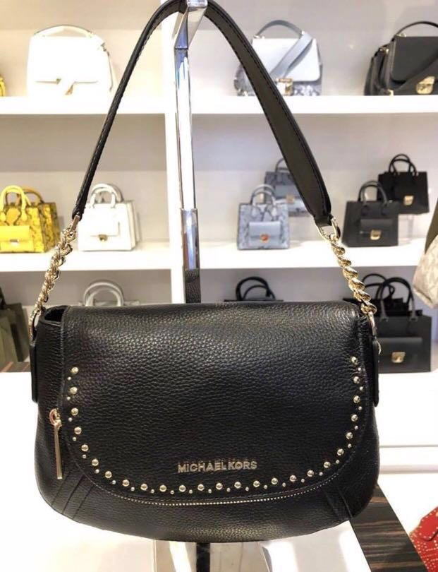 15394bebe1be Micheal Kors Aria Studded Convertible Shoulder/Crossbody Bag in Black,  Luxury, Bags & Wallets, Sling Bags on Carousell