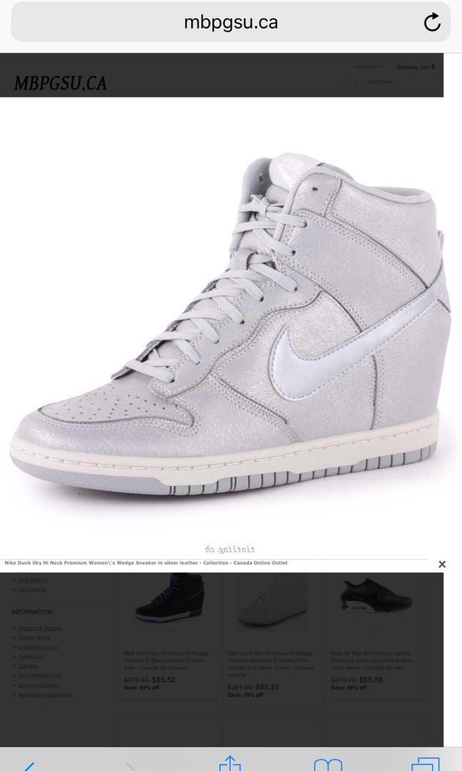 5c482adf0a0 Nike dunk sky high US 8.5 women matte silver inbuilt platform wedge ...