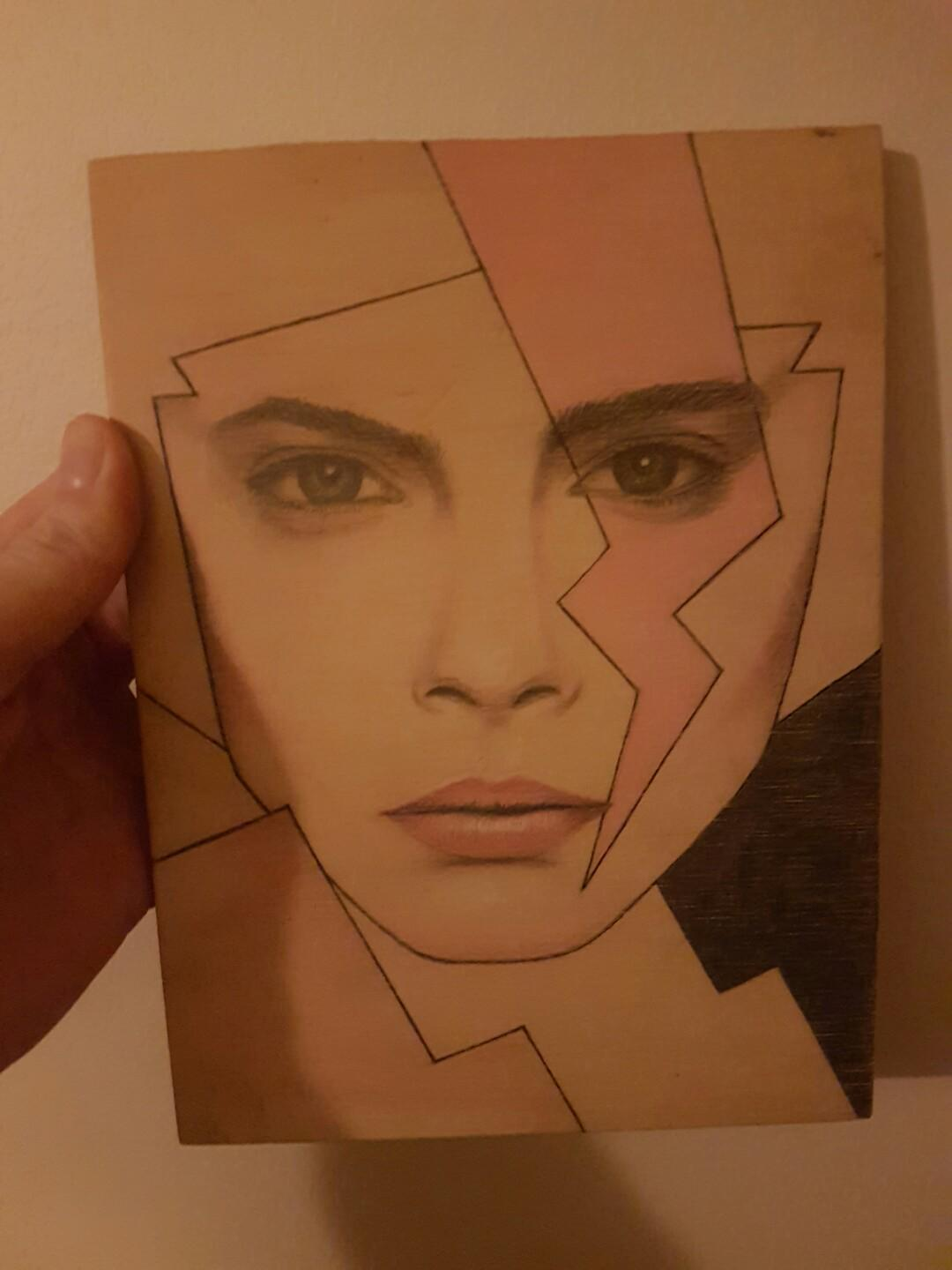 Original Artwork Bowie Style Girl Drawing/painting on timber