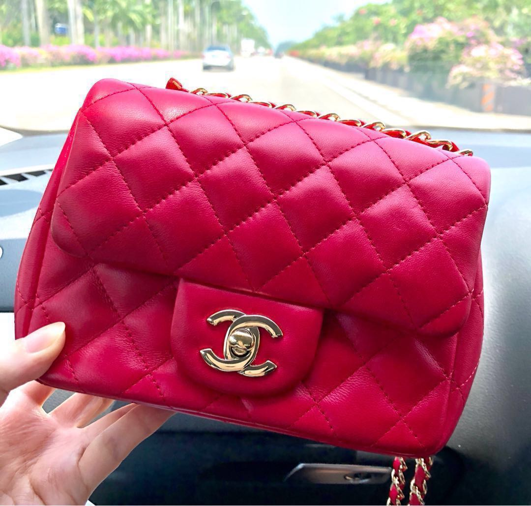7fb2a63797bf ✨RESERVED ✨❤️Chanel Square Mini Classic Flap Bag Authentic ...
