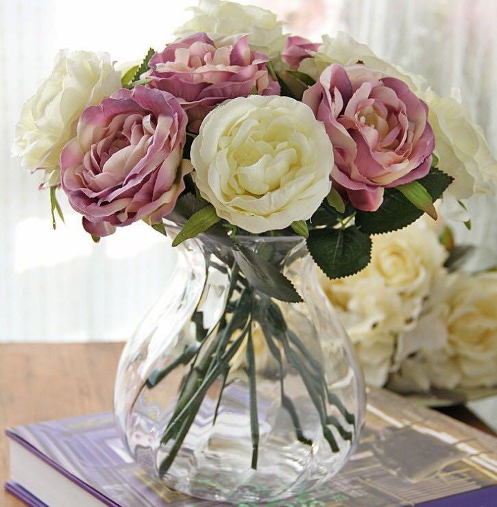 Silk Flowers Single Stem Full Bloom Roses Design Craft Others