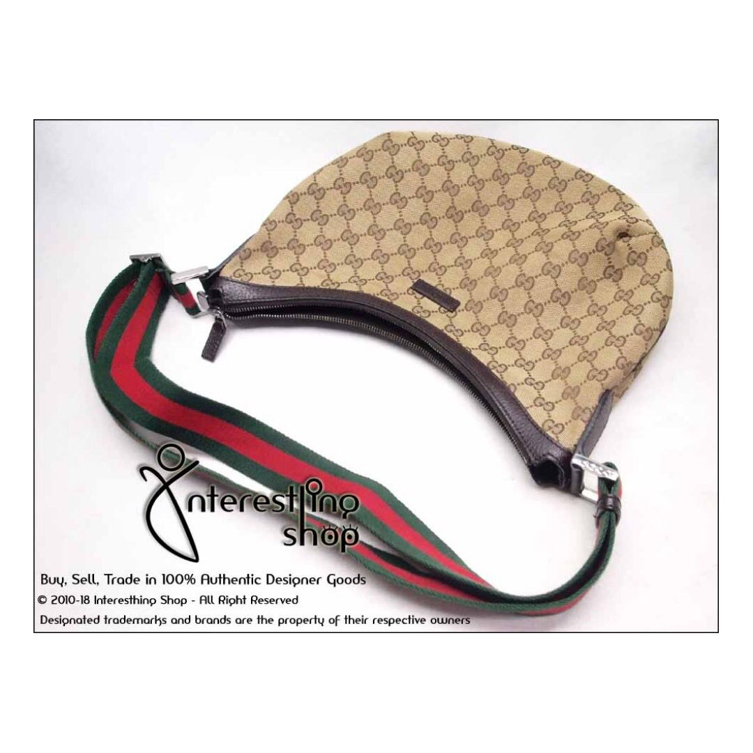 180dce9d16a7 SOLD* - # 4760-06. Authentic Gucci Monogram Half Moon Sling 181092 ...