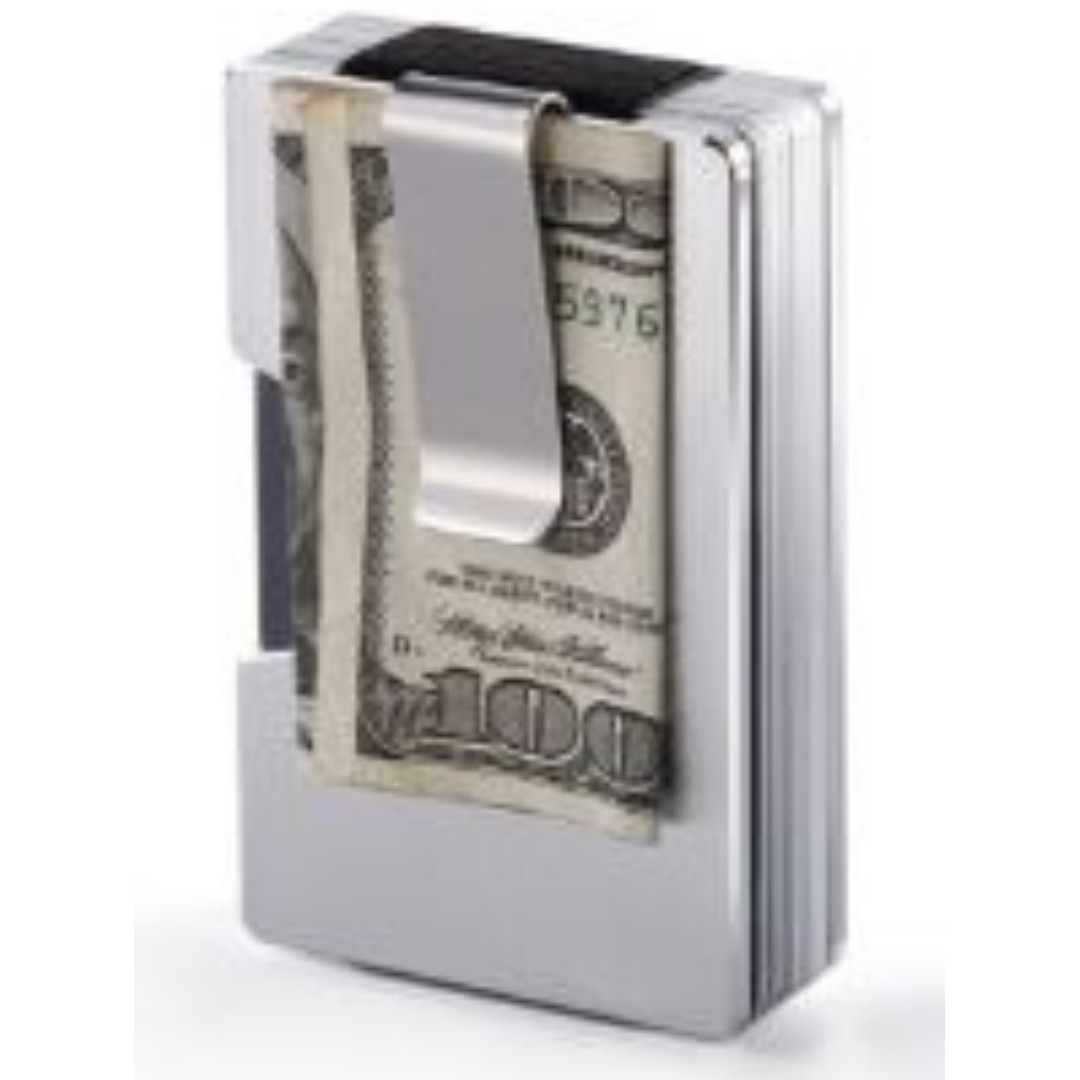 1a2fdefcd8d843 Stainless Steel Elastic Band Slim Money Clip Credit Card Holder ...