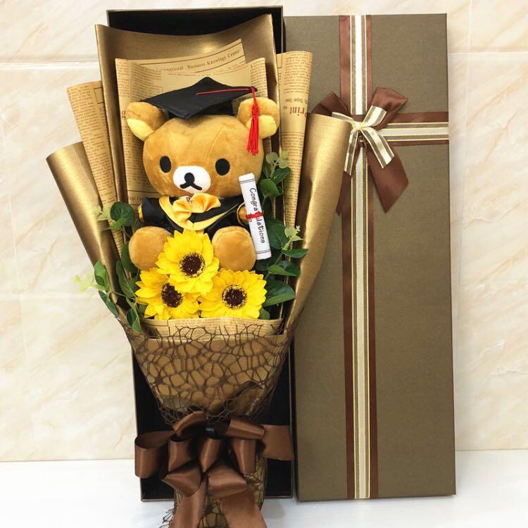 teddy bear graduation flower bouquet in big gift box 1 big teddy