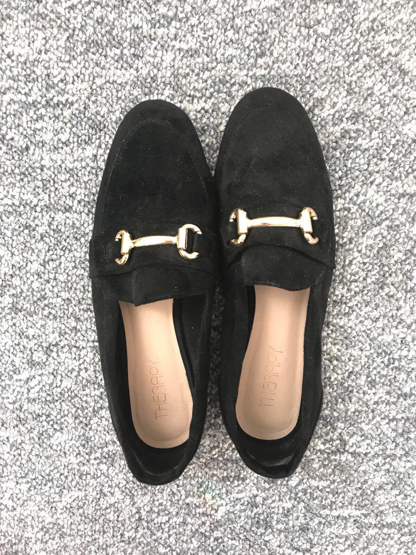 Therapy black suede loafers