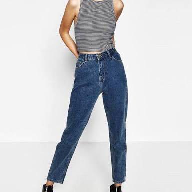aa6e3670 Zara Dark Blue Denim Mom Jeans (high waist) on Carousell