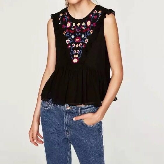 ee4601e5574 Zara Embroidered Top Embroidery Floral Flowers Casual Tee t shirt tshirt  office work ladies ruffle frill flutter black blouse for women girls  sleeveless, ...
