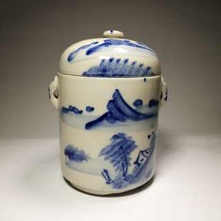 Vintage Old Chinese Blue & White Porcelain Stew Pot