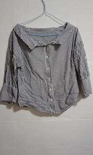 🚚 Korean style Two-way striped double top