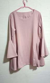 🚚 BN Dusty Pink Bell Sleeved flow top