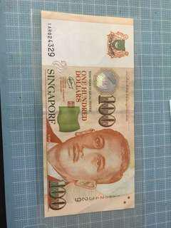 1AR Singapore $100 Replacement Note