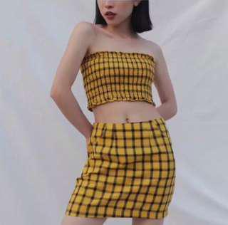 💛💛黃色格紋套裝💛💛S號