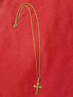 Unisex 18k Gold necklace with cross pendant