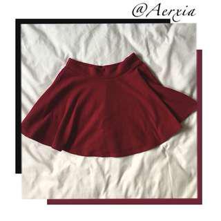 Wine Red Circle Skirt