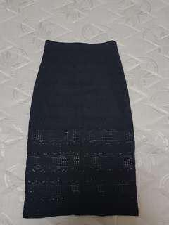 Lacy Black Pencil Skirt