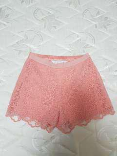 Forever New Coral Peach Crochet Shorts
