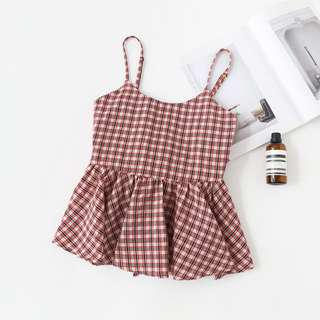 🔥READYSTOCK🔥 Brand New Flare Gingham Singlet with Back Ribbon