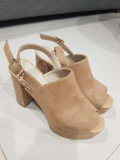 Brand New Nude Suede Leather Heel Wedges