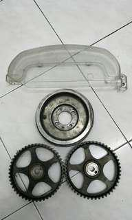 crank pully aloi,cam pully std,cover timing belt vr4 evo3..