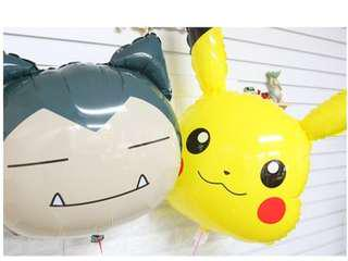 Pokemon World festival official XL party balloons set, Pikachu 比卡超 & Snorlax 卡比獸 memorabilia