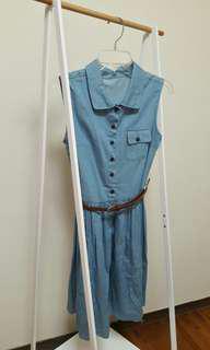 正韓 a9翻領復古排釦牛仔洋裝(藍色)