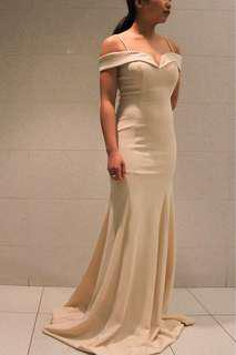 Cream Off the Shoulder Gown