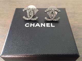 Authentic Chanel Gunmetal Logo Earring RRP $600