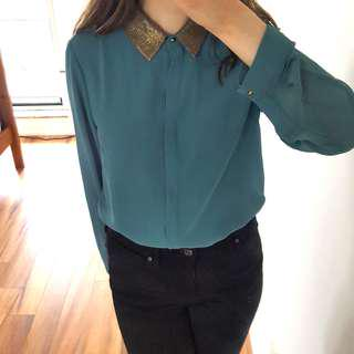 Teal Blouse with Sequined Collar