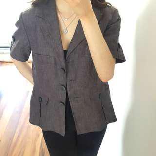 Size 12 Short Sleeved Grey Blazer
