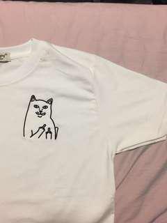 Cat middle finger -  crop T-shirt