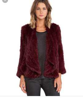 Jennifer Kate Windmill rabbit fur - burgundy