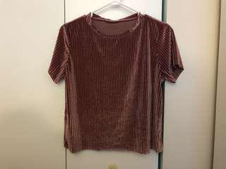Pink Velvet Textured Crop Top Blouse