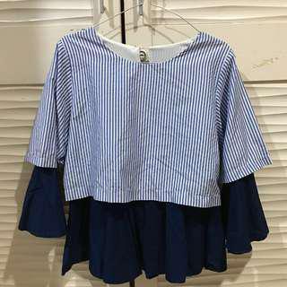 stripes double blouse