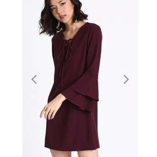 Love Bonito Dyne lace-up bell sleeved dress