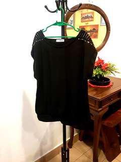 #MY1010 Black Bejeweled Sleeves Blouse